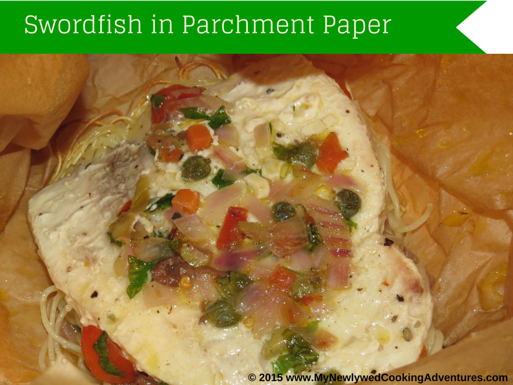 """Lunchbag"" Swordfish in Parchment with Mediterranean Sauce"